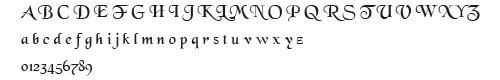 Black Chancery 文字例