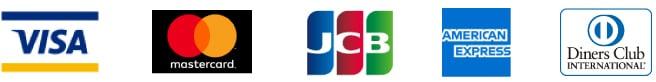 VISA、MasterCard、JCB、AMERICAN EXPRESS、Diners Club International