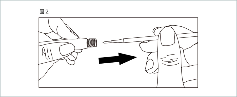 替え芯の交換方法の図