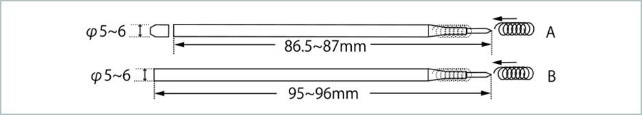 Aタイプ・Bタイプ替え芯イメージ図